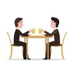 Two cartoon men drinking beer vector