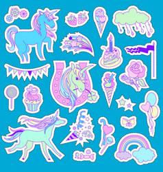Unicorn multicolor stickers with unicorn cloud vector