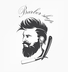 vintage barber shop emblem label badge with beard vector image