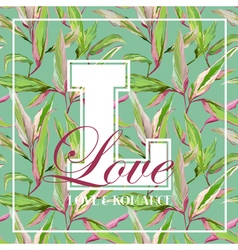 Vintage tropical leaves floral graphic design vector