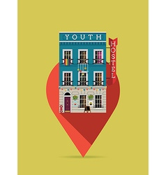 Youth Hostel on a Pin Icon vector image vector image