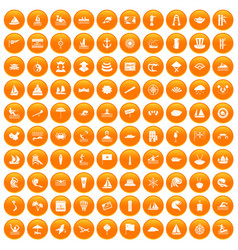 100 sailing vessel icons set orange vector