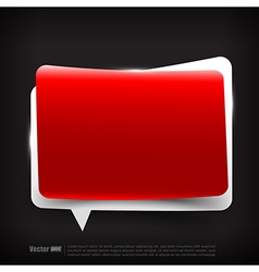 Blank red and white speech bubble layered vector