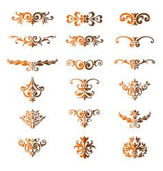 set of flourishes calligraphic elegant ornament di vector image