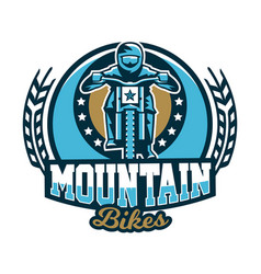 Logo emblem of the rider riding a mountain bike vector