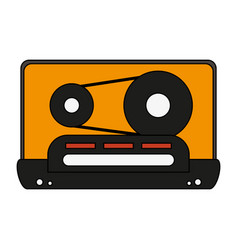 white background with tape cassette vector image