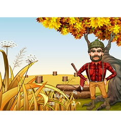 An angry lumberjack near the giant old tree vector