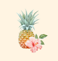 Watercolor pineapple fruit vector