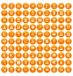100 sailing vessel icons set orange vector