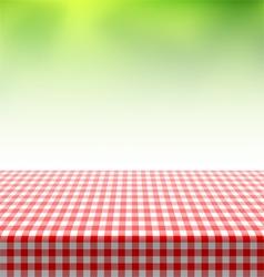 Picnic table covered with checkered tablecloth vector image