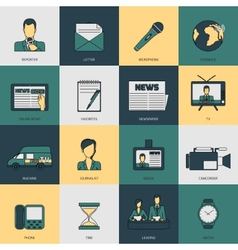 News icons flat line vector