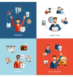 Businessman daily routine concept flat icons vector