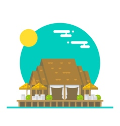Flat design of over water beach restaurant vector