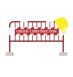 Red barrier under construction vector