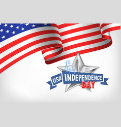 4th july usa independence day banner with american vector