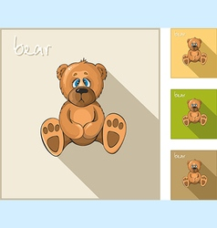 Set of icons with a sedentary bear vector