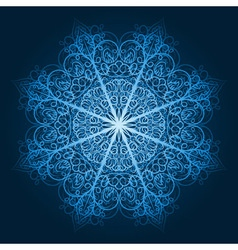 Highly detailed blue snowflake vector
