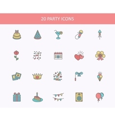 Outline web icons set - party birthday holidays vector