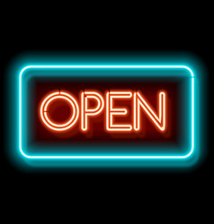 Retro neon sign open vector