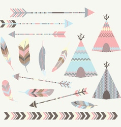 Tribal tee pee tents collections vector