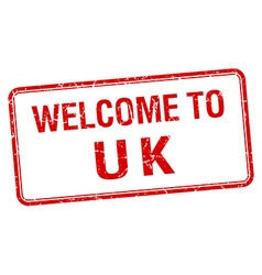 Welcome to uk red grunge square stamp vector