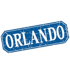 Orlando blue square grunge retro style sign vector