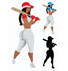 baseball girl vector image