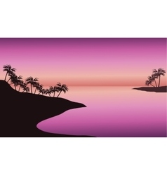 beach at sunset silhouette vector image