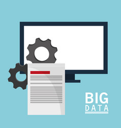 big data comuter gears document vector image vector image