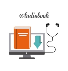 Book and Headphone icon Audiobooks design vector image vector image