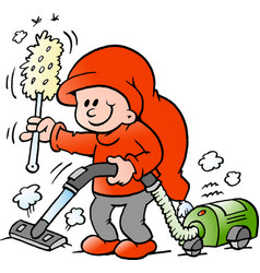 cartoon of an happy elf with a vacuum cleaner vector image