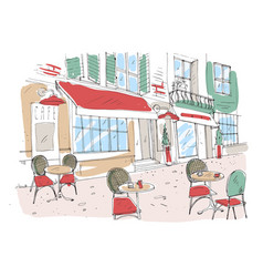 Colored drawing of summer sidewalk cafe vector