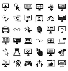 Computer display icons set simple style vector