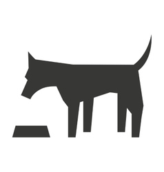 cute dog with dish isolated icon design vector image