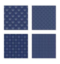 four simple backgrounds japanese sashiko motifs vector image vector image
