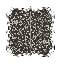 Isolated leaves ornament inside frame design vector