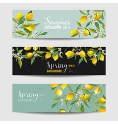 Lemon citrus floral banners and tags set vector