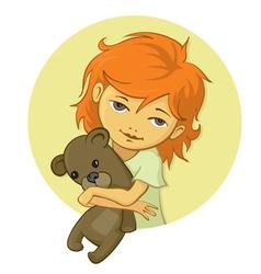 Little girl holding bear vector