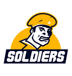 Logo american soldier cap facial image a vector