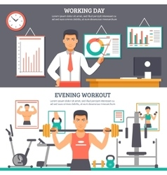 Man daily routine banner set vector