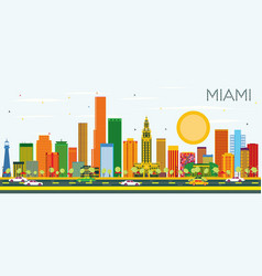 Miami skyline with color buildings and blue sky vector