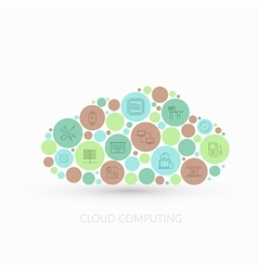 modern concept cloud with flat outline vector image vector image