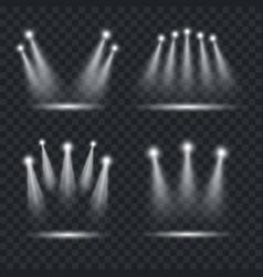 realistic light scenic spotlight set vector image vector image