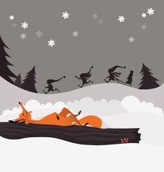 Red fox in the winter christmas forest and elves vector