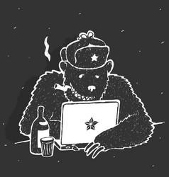 russian hacker character cartoon vector image vector image