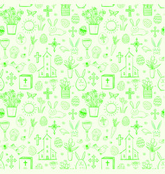 Seamless pattern with green easter doodle sketches vector