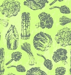 Seamless pattern with hand drawn green vegetables vector image vector image