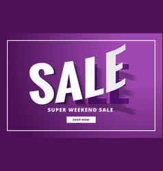 Stylish sale banner in purple color with 3d effect vector