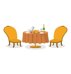 Table with meal isolated vector image