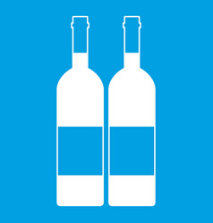 Two bottles of wine icon white vector